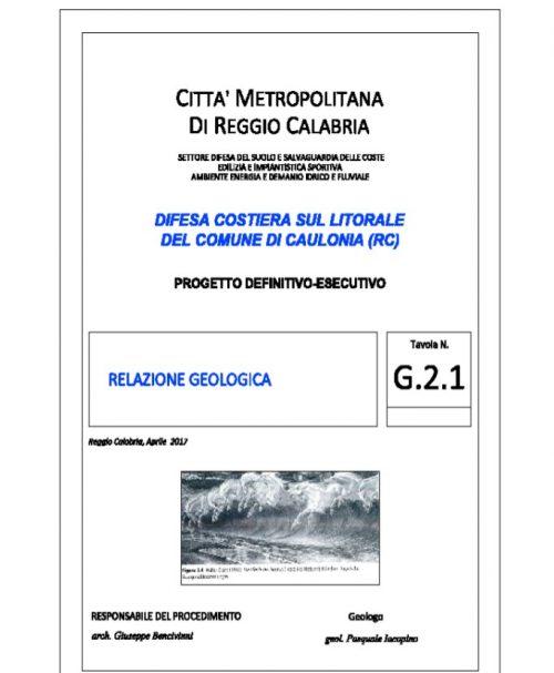 Relazione Geologica Litorale Caulonia
