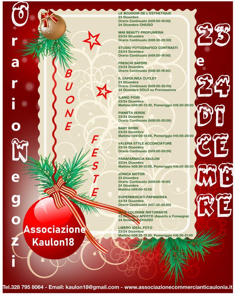 Orario Negozi Associazione Kaulon18